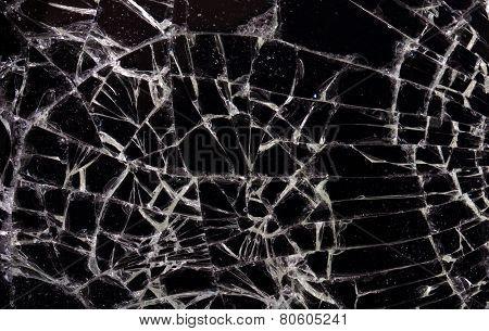 Full Screen Broken Glass, Black Background