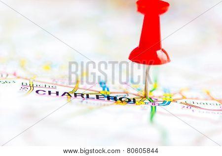 Close-up Shot Over Charleroi City On Map, Belgium