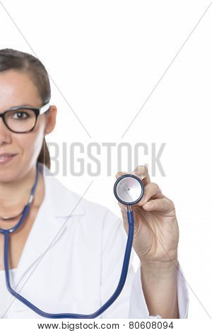 Young Doctor Holding A Stethoscope.