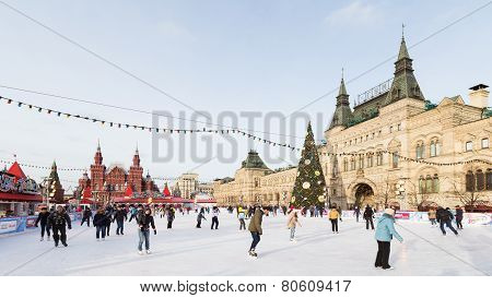 Red Square And People Are Skating