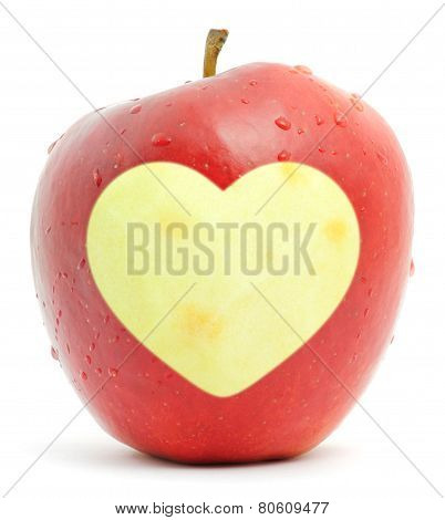 Red Apple With A Heart Symbol