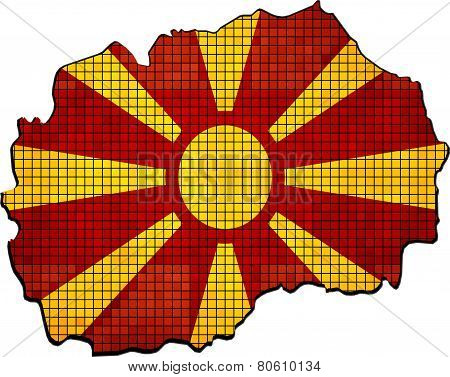 Macedonia map with flag inside