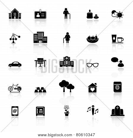 Retirement Community Icons With Reflect On White Background