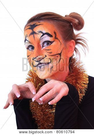 Girl in appearance a tiger.