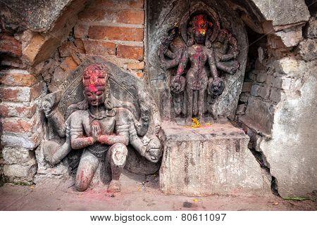 Hindu Statues In Kathmandu