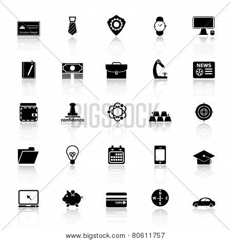 Businessman Item Icons With Reflect On White Background