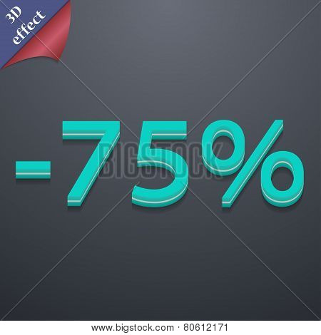 75 Percent Discount Icon Symbol. 3D Style. Trendy, Modern Design With Space For Your Text Vector