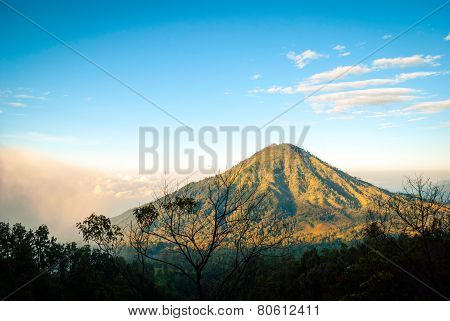 View Over Landscape At Kawah Ijen Crater, Indonesia