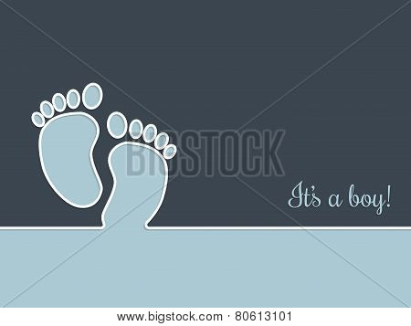 Simplistic Baby Shower Greeting Card In Blue