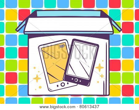 Illustration Of Open Box With Icon Of  Phone On Color Pattern Background.