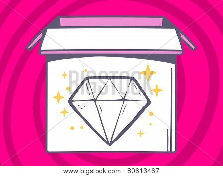 Illustration Of Open Box With Icon Of  Diamond On Pink Pattern Background.