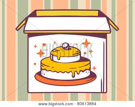 Illustration Of Open Box With Icon Of  Cake On Striped Pattern Background.
