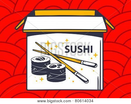 Illustration Of Open Box With Icon Of  Sushi On Red Pattern Background.