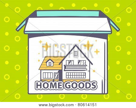 Illustration Of Open Box With Icon Of  Home Goods On Green Pattern Background