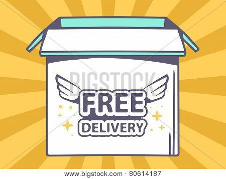 Illustration Of Open Box With Icon Of  Free Delivery On Orange Pattern Background.
