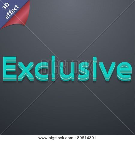 Exclusive Icon Symbol. 3D Style. Trendy, Modern Design With Space For Your Text Vector