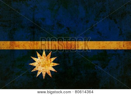 Nauru Flag on vintage paper
