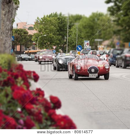 old car Jaguar C-Type 1953 mille miglia 2014