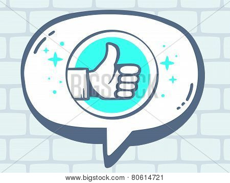 Illustration Of Speech Bubble With Icon Of Thumb Up On Grey Brick Pattern Background.
