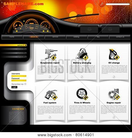 Automobile Service Website design template with dashboard, windshield in rain and service and repair related icons. Vector illustration