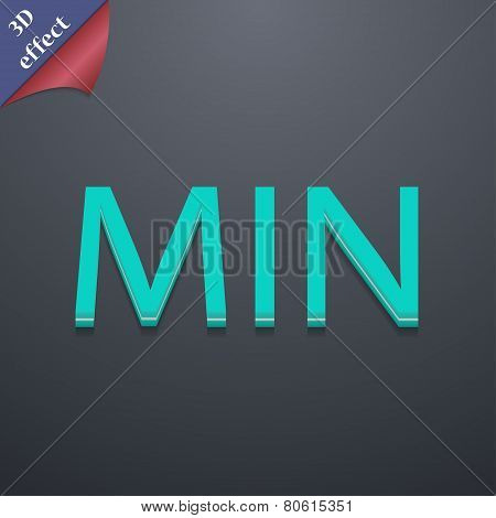 Minimum Icon Symbol. 3D Style. Trendy, Modern Design With Space For Your Text Vector