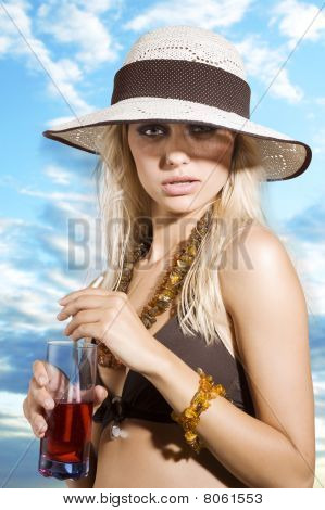 Hat Girl With Drink