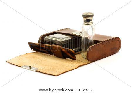 Old leather shaving kit