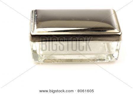 vintage glass and metal soapbox