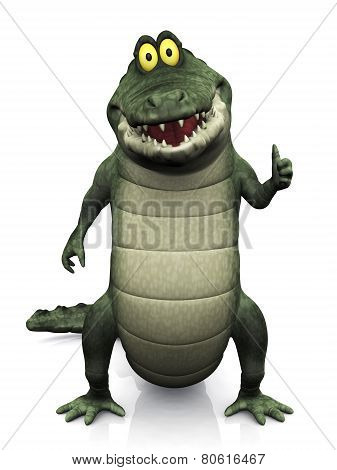 Cartoon Crocodile Doing A Thumbs Up.