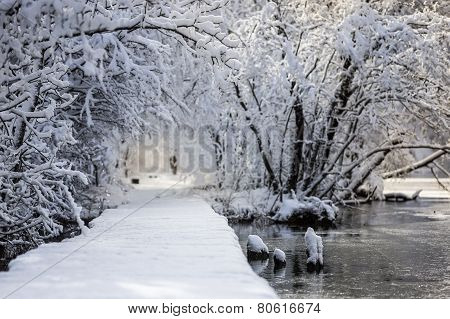 Snowy Road By The Water