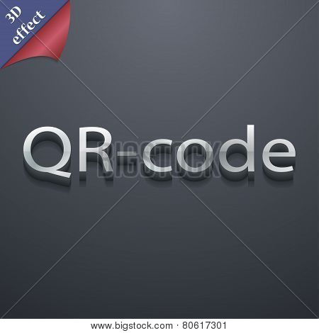 Qr Code Icon Symbol. 3D Style. Trendy, Modern Design With Space For Your Text Vector