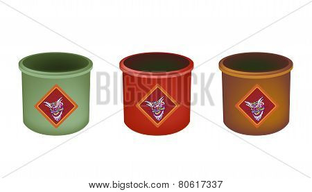 Three Brass Joss Stick Pots on White Background