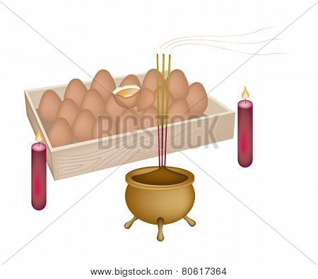 Stack of Cooked Eggs for New Year Worship