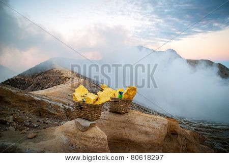 Baskets With Sulphur At Kawah Ijen Krater, Indonesia
