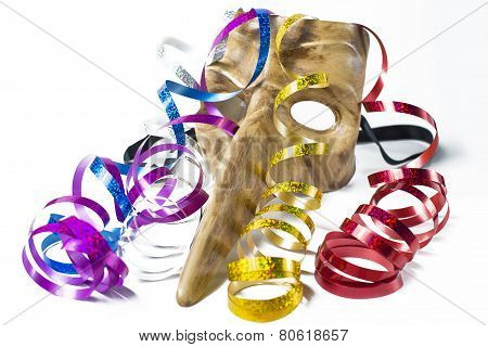 Carnival Mask With Colorful Streamers On White Background