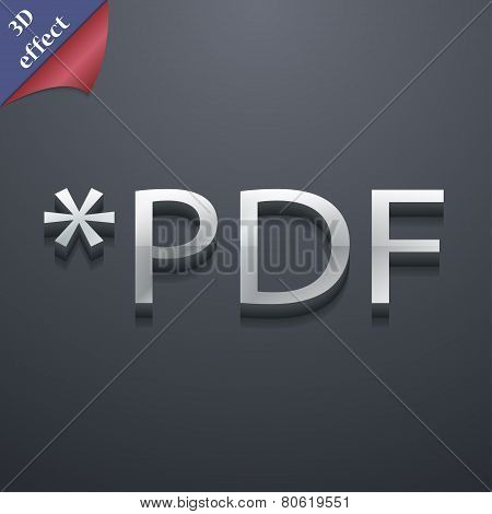 Pdf File Extension Icon Symbol. 3D Style. Trendy, Modern Design With Space For Your Text Vector