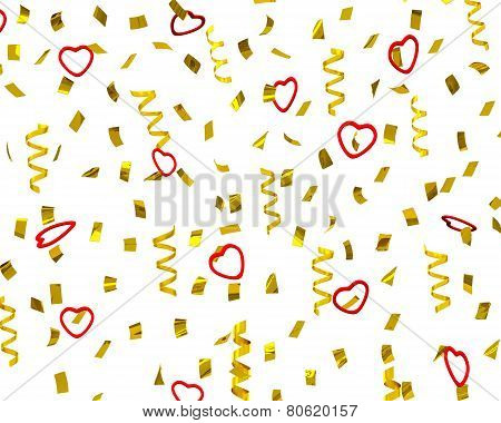 Golden confetti streamers with decorative hearts, 3d