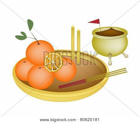 Golden Orange Fruits for New Year Worship