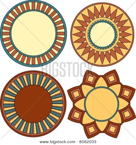 Colorful vector ornament collection over white background