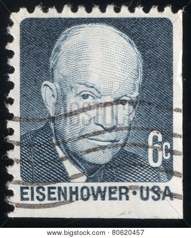 Portrait Of Pres. Dwight Eisenhower. Usa Post Stamp 1970