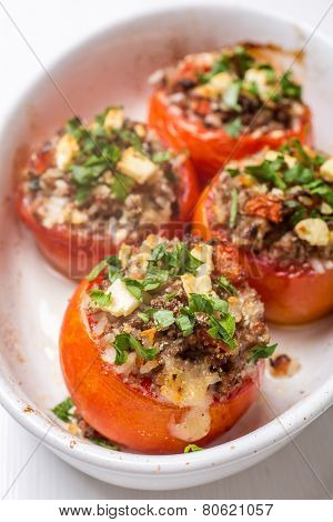 Baked Tomatoes Stuffed with Meat, Rice and Feta Cheese