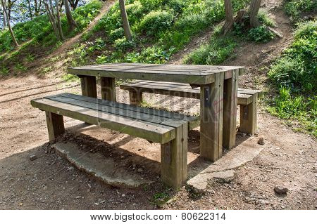 A Picnic Table At The Nature