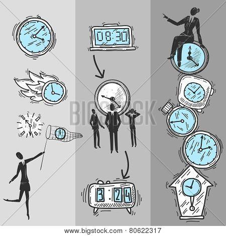 Clock Banners Set