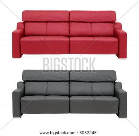 Red And Black Sofa.