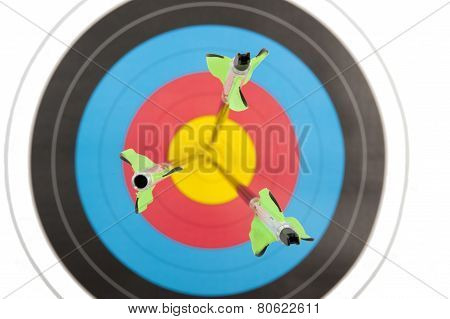 Three Arrows In Archery Target