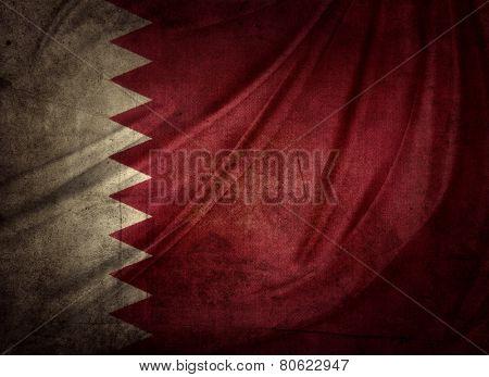 Closeup of grunge Qatar flag