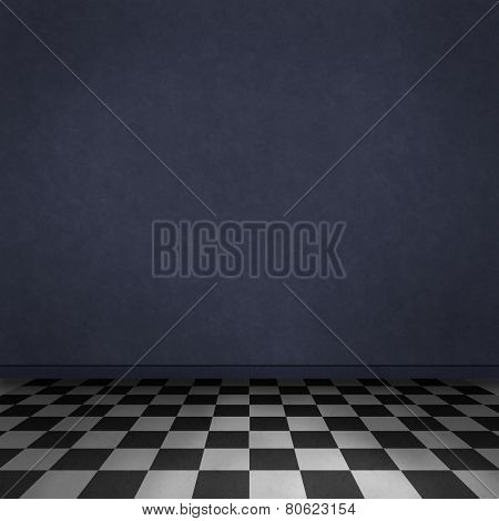 Room background with black and white checker on the floor and dark blue wall