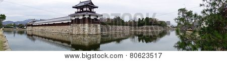 Entrance At Hiroshima Castle With Wall And Water Pond To Protect From The Enemy