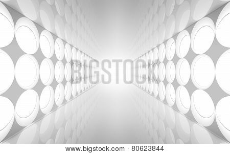White Abstract 3D Interior With Round Decoration