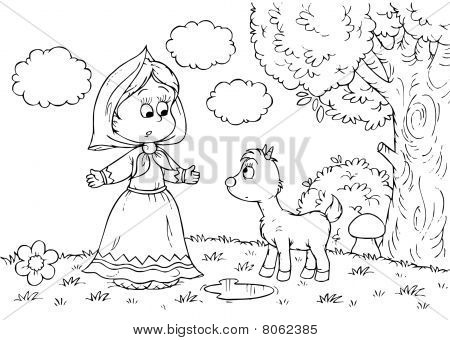 Girl and goatling